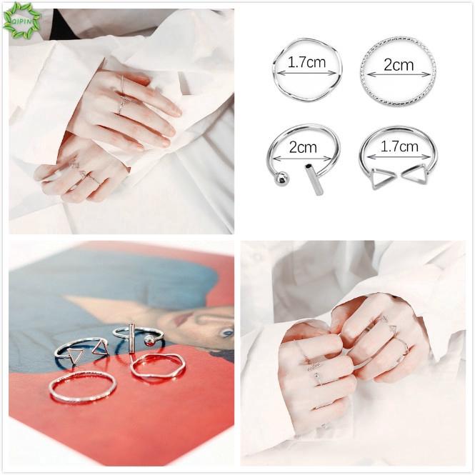 Bộ 4 nhẫn màu bạc bằng kim loại thiết kế kiểu mở phong cách Hàn
