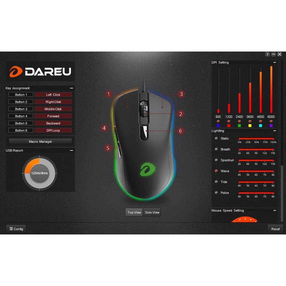 [Mã SKAMPUSHA7 giảm 8% đơn 250k]Chuột Gaming DAREU EM908 (LED RGB, BRAVO sensor)