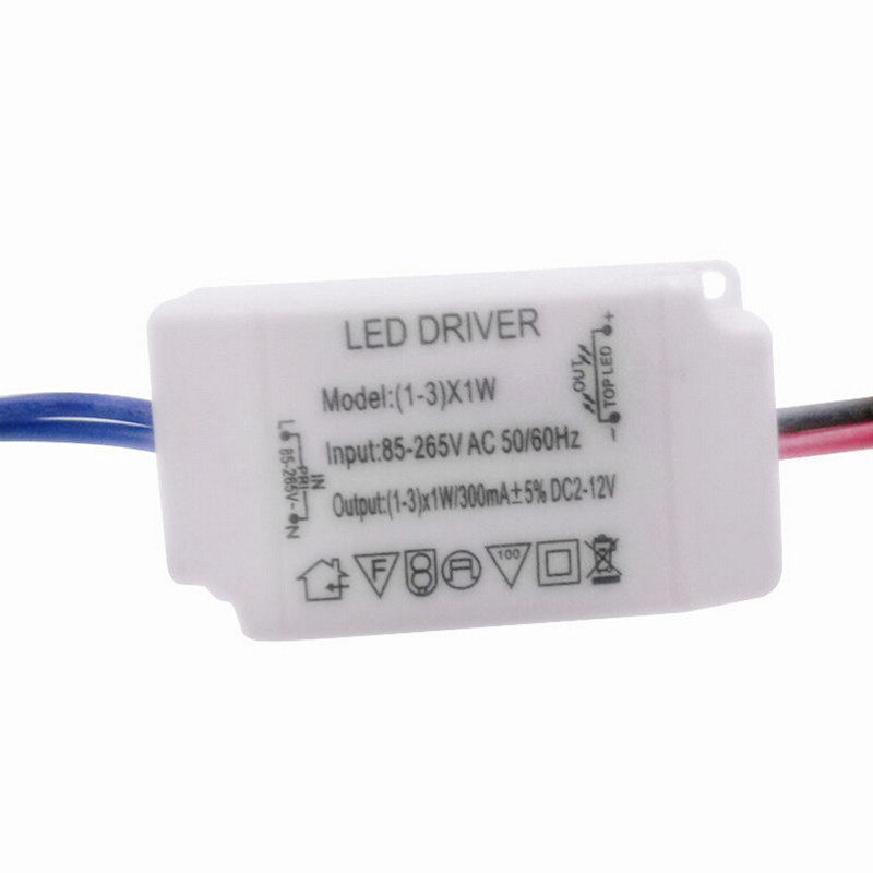 MT Simple AC 85V-265V to DC 12V LED Electronic Transformer Power Supply Driver 3X1W NY