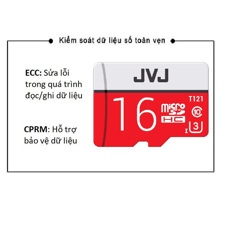 Thẻ nhớ 64G/32G/16G JVJ Pro U3 Class 10 – chuyên dụng cho CAMERA tốc độ cao