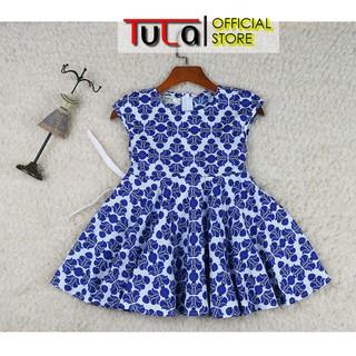 Váy Đầm Cho Bé Gái Thiết Kế Xòe 360 Họa Tiết Xanh Coban Cực Đáng Yêu Vải Thô Hàn Quốc