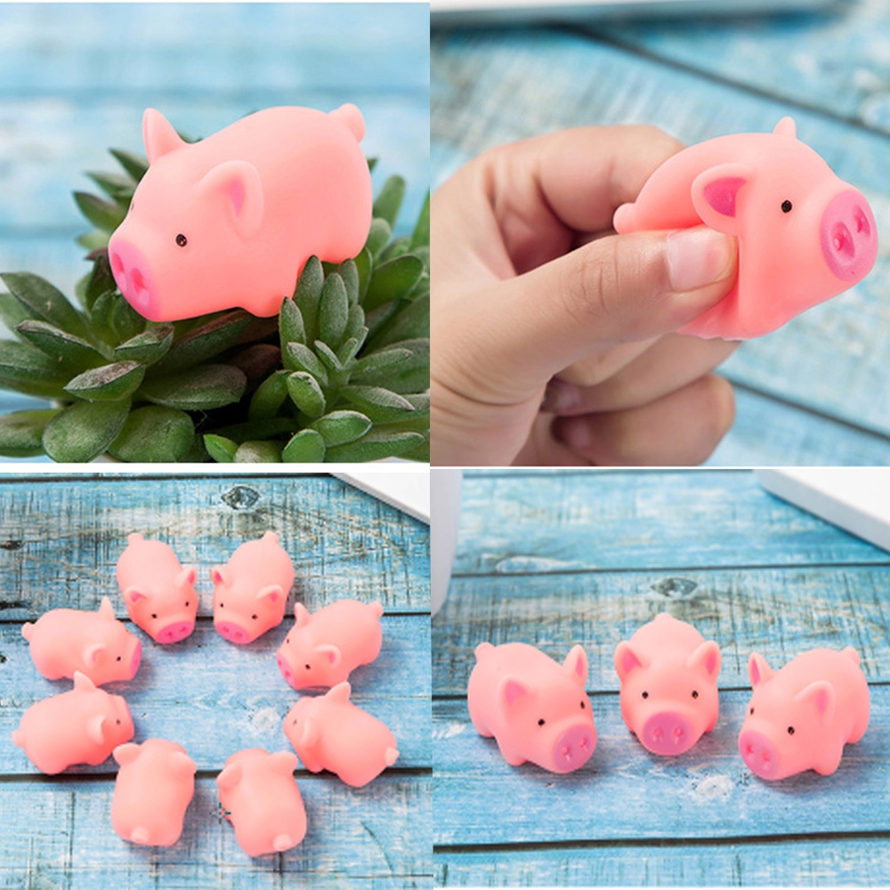1/2Pcs Kids Christmas Gift Home Decoration Soft Silicone Stress Reliever Pink Cartoon Squeeze Pig