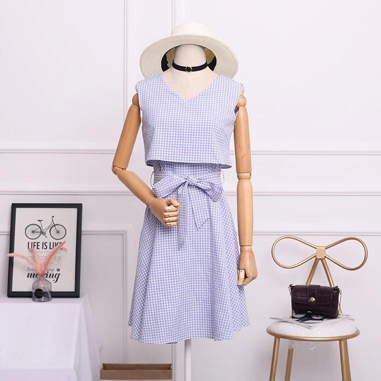 Đầm xòe đầm caro đầm công sở siêu đẹp