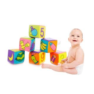 6PCS Blocks Toys 7 * 7 * 7cm Plush Soft Stuffed Blocks Educational Toys Montesso