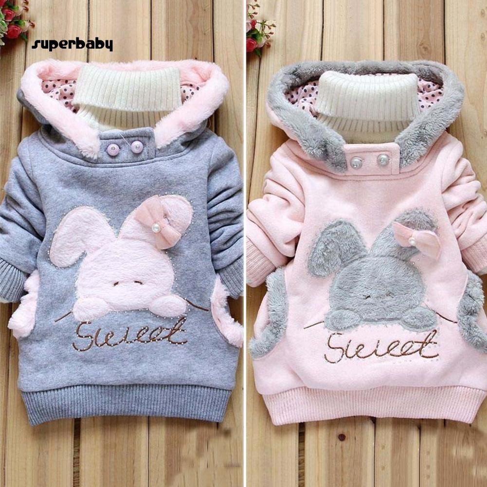 SBaby-Child Cartoon Rabbit Fleece Outerwear Girl Fashion Sweatshirt Hooded Winter Coat