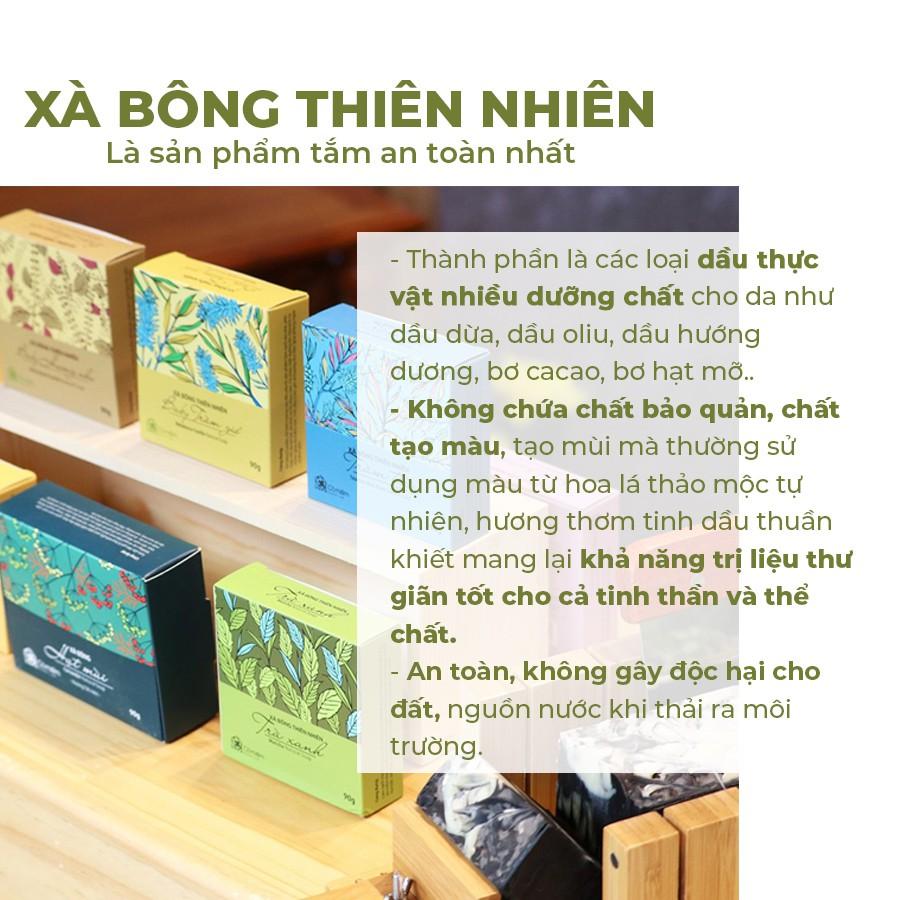 Xà Bông Tắm Thiên Nhiên An Toàn Cafe Hương Bạc Hà Mát Lịm Cỏ Mềm 90g (Tặng túi lưới)