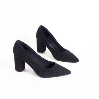 Giày Cao Gót 7cm Đế Vuông Nhung Da Lộn Basic Pixie X382