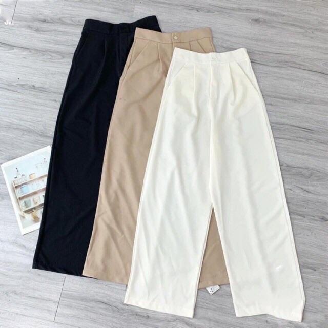 Quần culottes đũi dáng dài quần ống rộng siêu Hot