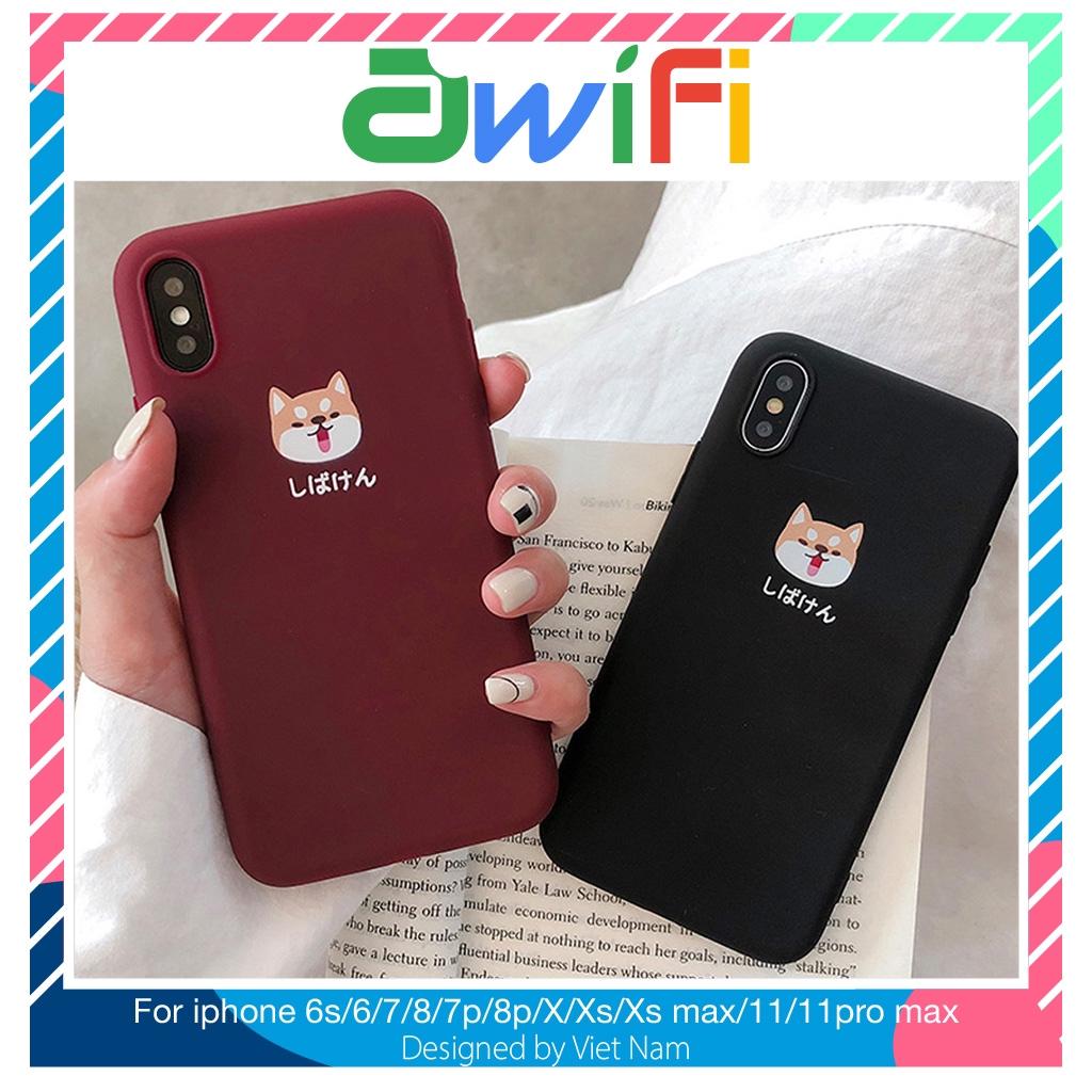 Ốp lưng iphone cún shiba trơn 5/5s/6/6plus/6s/6splus/7/7plus/8/8plus/x/xr/xs/11/12/pro/max/plus/promax -Awifi Case B2-1