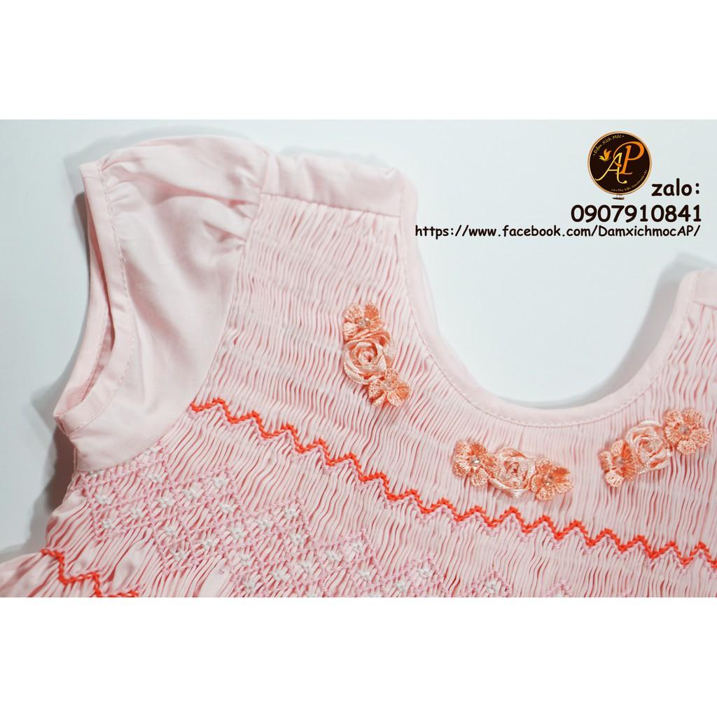 1433592267 - Váy đầm bé gái smock tay phồng hồng phấn hình thật