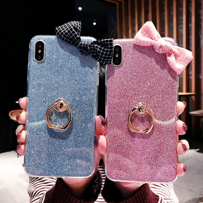 Glitter Soft Case Motive Simple Bowknot