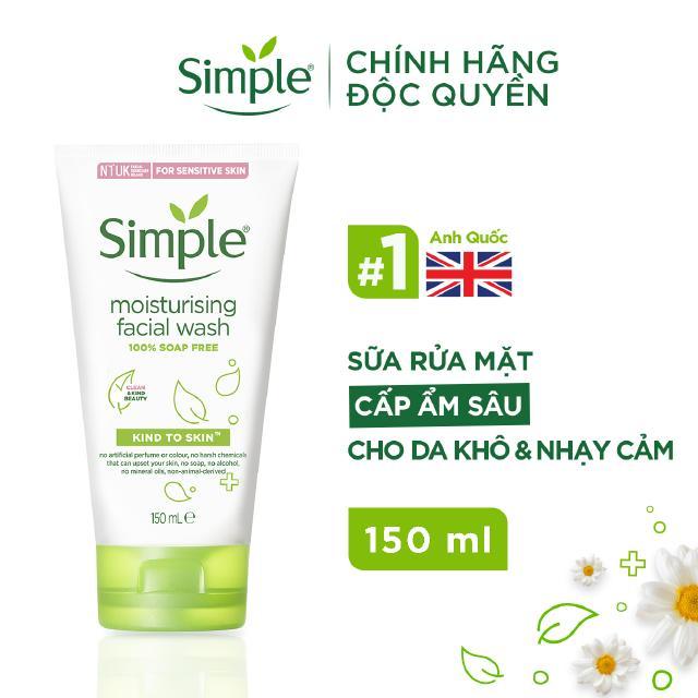Sữa rửa mặt Simple giúp cấp ẩm cho da khô nhạy cảm & không chứa xà phòng 150ml [CHÍNH HÃNG ĐỘC QUYỀN] thumbnail