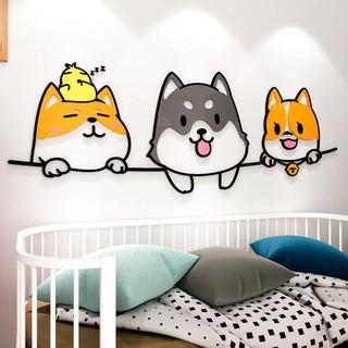 Tranh Dán Tường Mica 3D hoạt hình những chú cún dễ thương Trang Trí Mầm Non, Mẫu Giáo, Phòng Cho Bé