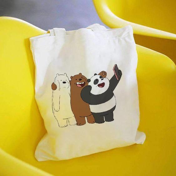 Túi tote vải bố đeo vai canvas Gấu We Bare Bears