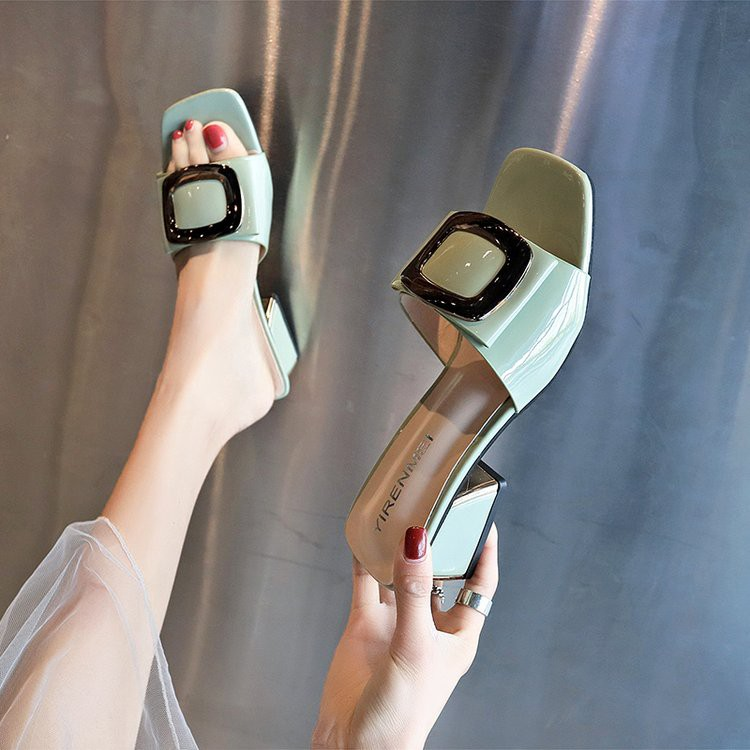 Mint overseas shipping high-heeled slippers female summer wear 2019 new metal buckle Korean temperament sandals fashion