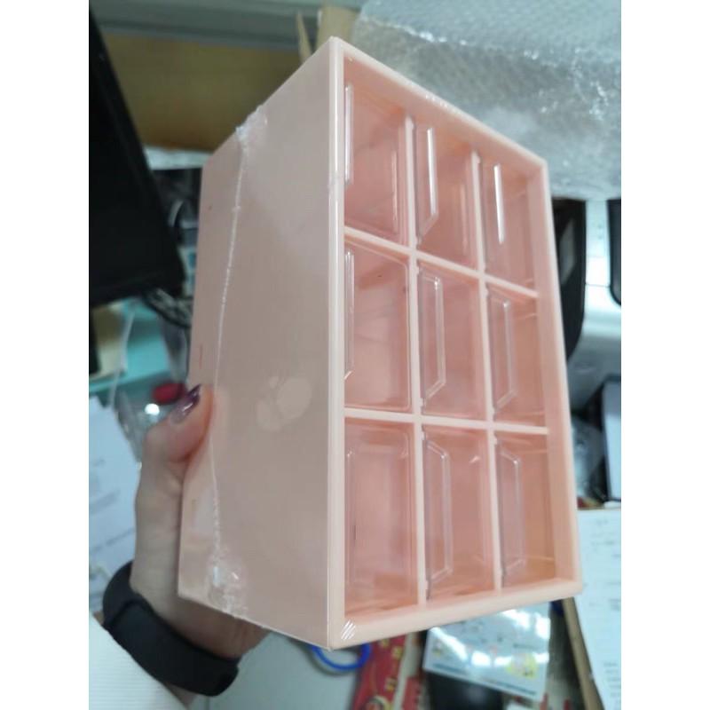 Tủ nhựa mini 9 ngăn để bàn tặng kèm giấy dán sticker