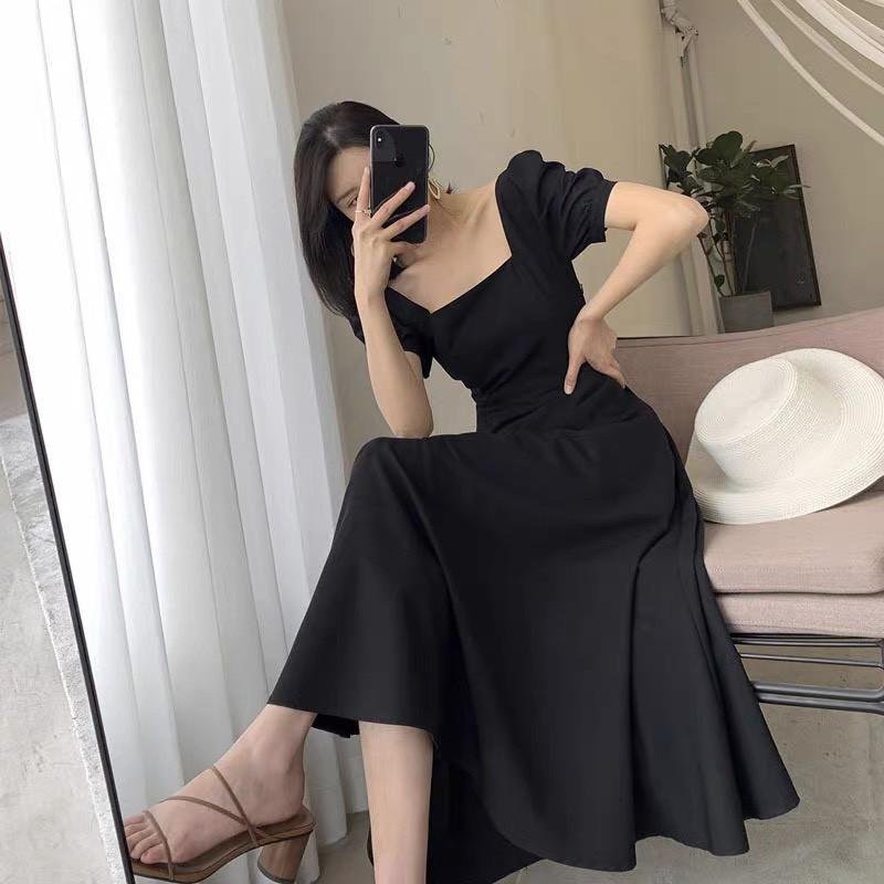 Mặc gì đẹp: Sang chảnh với Váy Đi Dự Tiệc Cưới Cổ Vuông Sang Trọng SANMAY Đầm Công Sở Hàn Quốc Thiết Kế Xòe Cao Cấp, Ôm Body Đẹp Trắng Đỏ Đen VD003