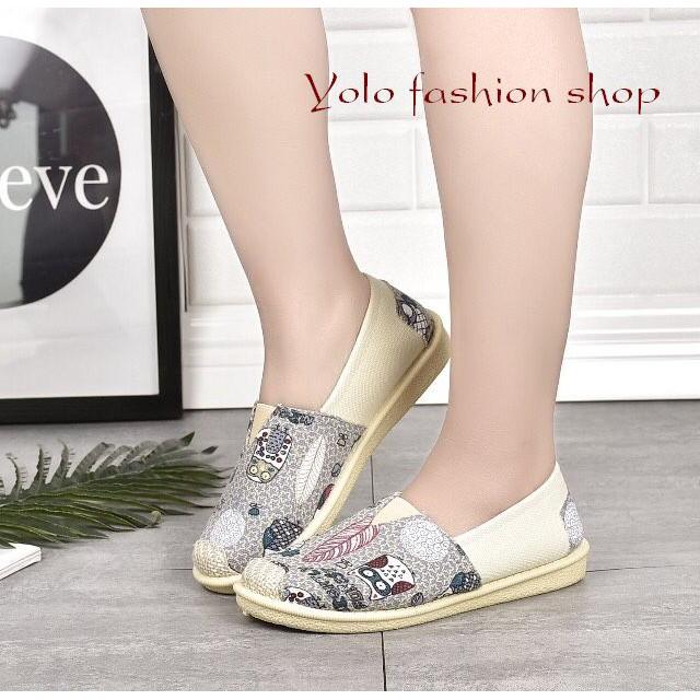 [Hình thật] GL3 Giày lười slip on nữ bọc cói vintage thời trang