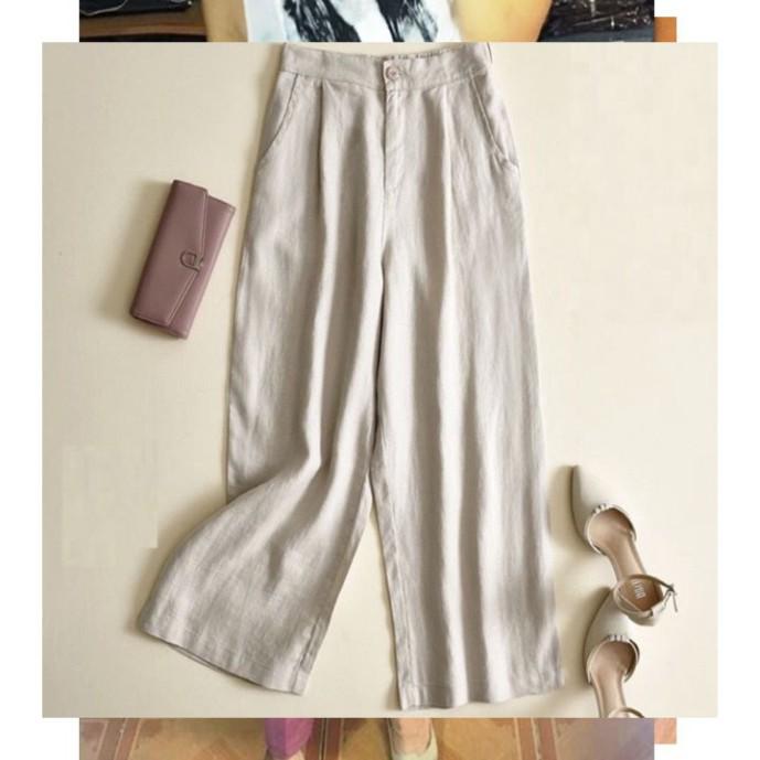 Mặc gì đẹp: Đẹp với Quần đũi nhật , ống rộng,dài -Quần đũi ống rộng cúc khoá chun lưng dáng lỡ kiểu Nhật-Quần đũi nữ dáng baggy công sở