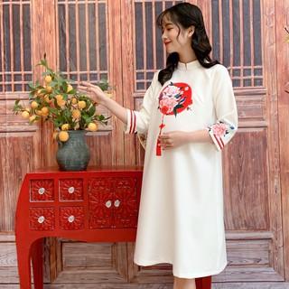 MEDYLA - Váy bầu mùa đông cách tân lụa siêu nhẹ Hàn cho mẹ bầu diện tết - VS566 thumbnail