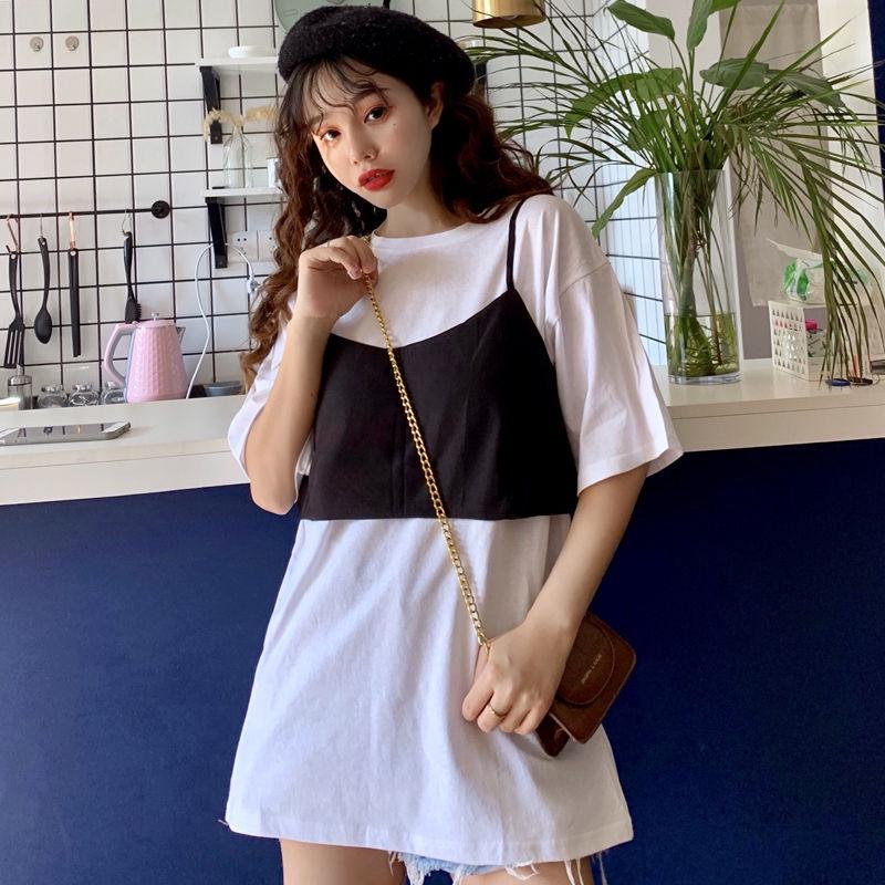 4638801939 - Set Áo Thun Dài Tay + Chân Váy Yếm Xinh Xắn Thời Trang Dành Cho Nữ