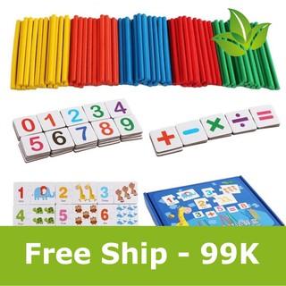 [FREESHIP 50K + QUÀ] Bộ Thẻ Ghép Số Và Que Tính Giúp Bé Học Đếm Và Phép Tính