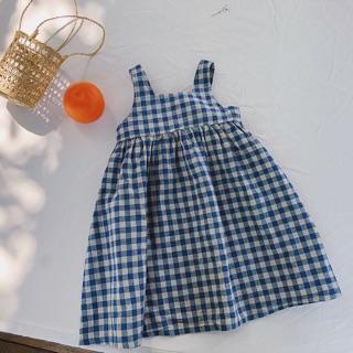 Váy kẻ nơ bé hàng oder