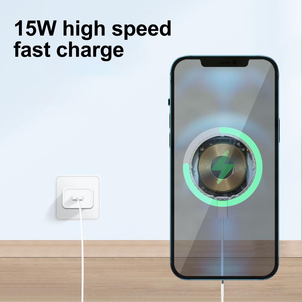 Bộ Sạc Nhanh Không Dây Mini 15w Có Nam Châm Cho Iphone 12