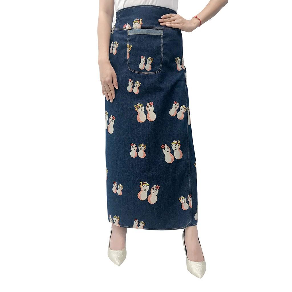 váy chống nắng freeSize jean hoa văn xẻ trước cố định bằng khuy VJXT0049