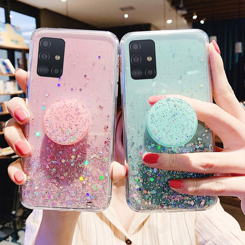 Ốp điện thoại lấp lánh có đế đỡ cho Samsung Galaxy S20 Ultra Note 10 Lite S10 Plus Note 8 9 A51 A71 A81 A91 S10E