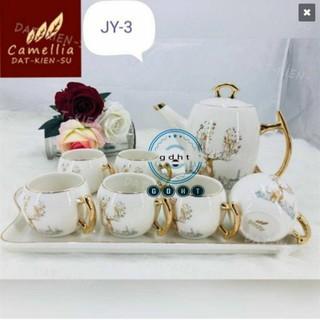 Bộ bình cốc kèm khay sứ pha trà cà phê trắng họa tiết hươu rừng thumbnail