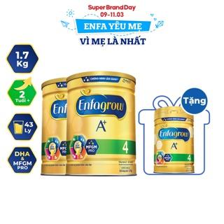 """[Mã ENFA100 giảm 7% tối đa 100K đơn 500K] [Tặng 1 lon Enfa A+ 4 830g] Combo 2 lon Sữa Bột Enfa A+ 4 1700g/lon giá chỉ còn <strong class=""""price"""">159.900.000.000đ</strong>"""