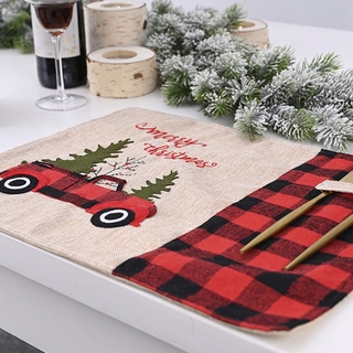 Red and Black Lattice Car Christmas Placemat Christmas Decorations M8P6