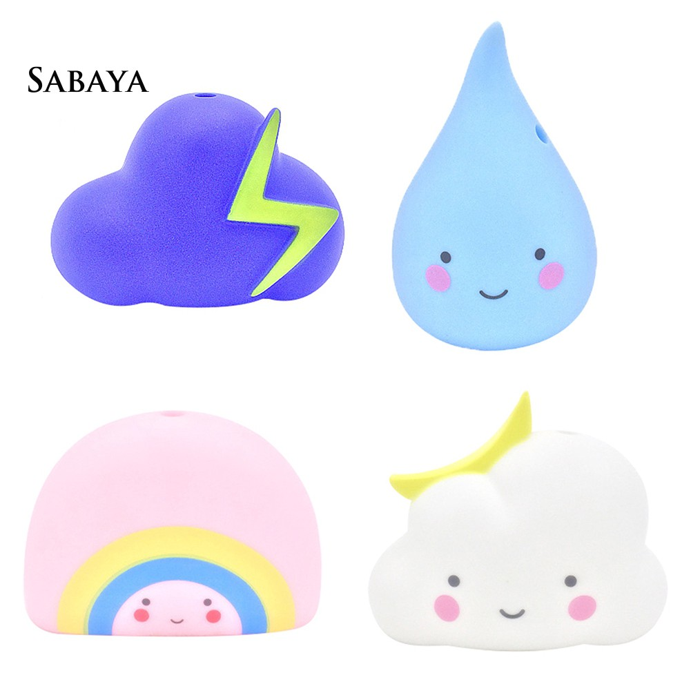 ♝♝♝4Pcs Weather Cloud Waterdrop Rainbow Lightning Baby Kids Bathing Silicone Toy