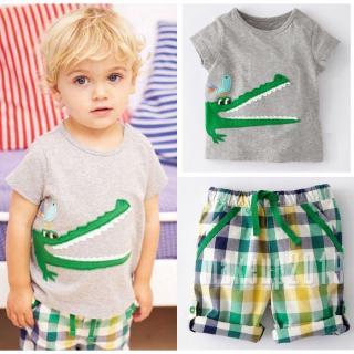 Mu♫-US Stock Toddler Kids Boys Summer Tops T-shirt Plaid Shorts Casual Outfits Set