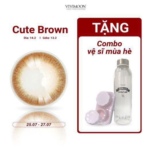 ☑Lens Cận Màu Nâu Tự Nhiên Cho Mắt Thở Vivimoon - Kính Áp Tròng Hàn Quốc Chính Hãng Cute Brown...
