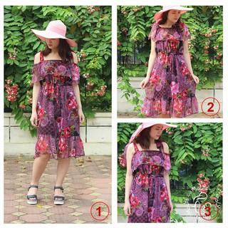Váy voan mặc bầu sau sinh voan đi biển (có ảnh thật) có thể thay đổi được 5 kiểu khác nhau, 7 NGÀY ĐỔI TRẢ thumbnail