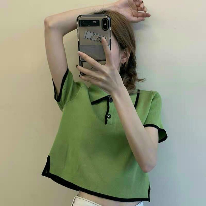 [Mã WASTDEP giảm 5K đơn bất kì] Áo croptop cổ sơmi viền màu