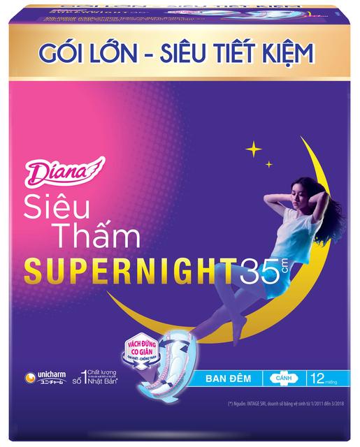 Bộ 2 gói Băng vệ sinh Diana Super Night 35cm gói 12 miếng