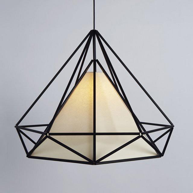 Đèn thả trần Vinatage khung sắt kim cương không kèm bóng