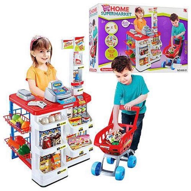 (Hàng chuẩn) Đồ chơi quầy siêu thị kèm xe đẩy 668-01 + 668-20