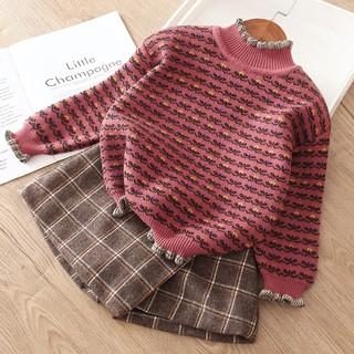 Áo len cho bé gái lót nỉ thu đông hoạ tiết vintage (Có ảnh thật và clip tự quay)