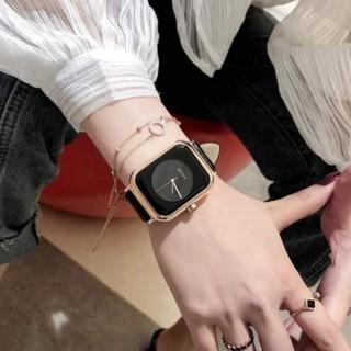 Đồng hồ nữ dây da mặt vuông G.u.o.u siêu xinh , da mềm bền thumbnail