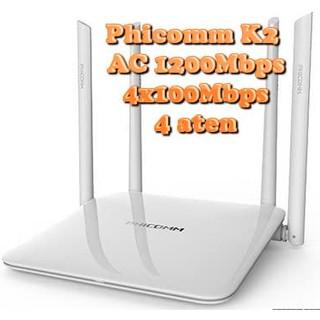 Bộ phát wifi Phicomm K2 chuẩn AC1200 2 băng tần 4 anten chịu tải cao cực kỳ ổn định hỗ trợ Padavan/Openwrt Gocloud