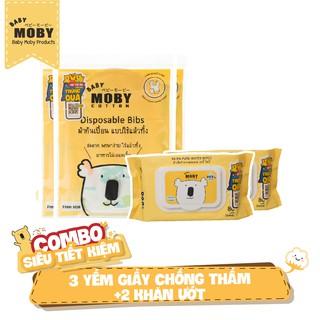 03 Bịch yếm giấy chống thấm Moby 02 Gói khăn ướt Moby 80 tờ