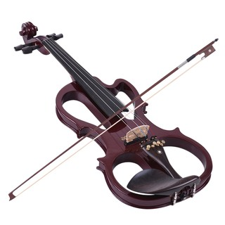ammoon VE-201 Full Size 4/4 Solid Wood Silent Electric Violin Fiddle Maple Body Ebony Fingerboard Pegs Chin Rest Tailpie