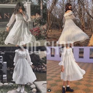 [Mã FAMAYWA giảm 10K đơn 50K] Váy Tiểu Thư Trắng Trễ Vai Vintage – Đầm Xoè 2 Lớp Mặc Nhiều Kiểu ( Ảnh Thật )
