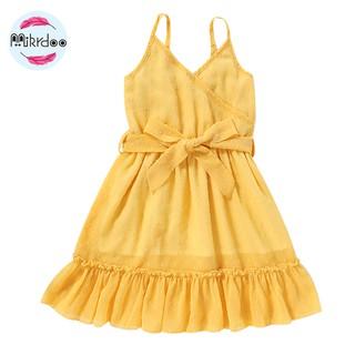 Kids Baby Girl Fashion Dress Yellow Summer Strap Fashion Dresses