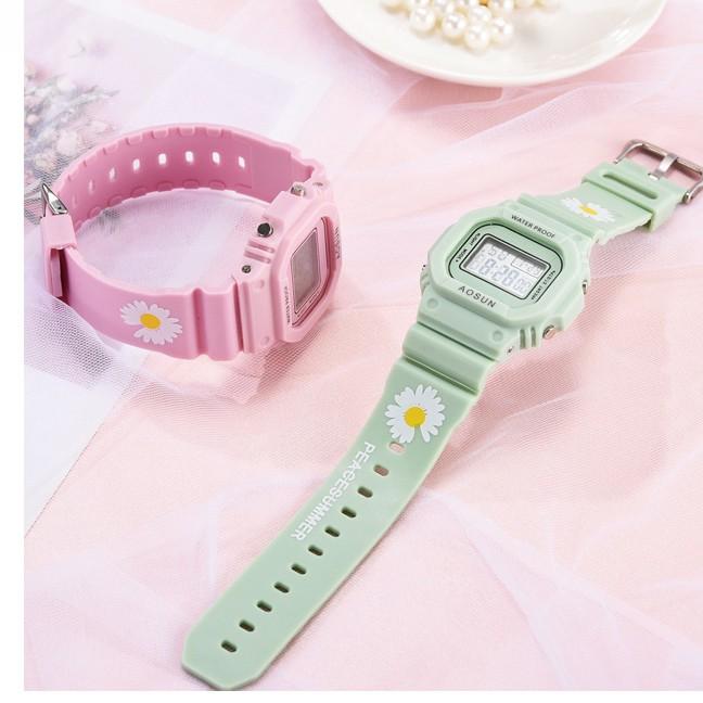 Đồng hồ điện tử nam nữ Aosun dây hoạ tiết hoa cúc DH106