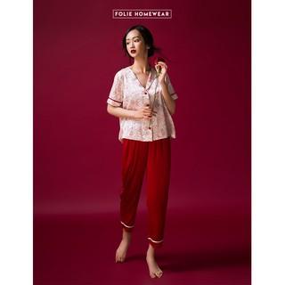 Folie Homewear đồ mặc nhà áo tay ngắn quần dài lụa FB36.3